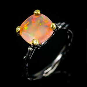 2ct Cushion Cut Natural Ethiopian Opal Ring